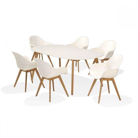 Gartentisch Sale.Set Sol Gartentisch 7 Teilig Weiß