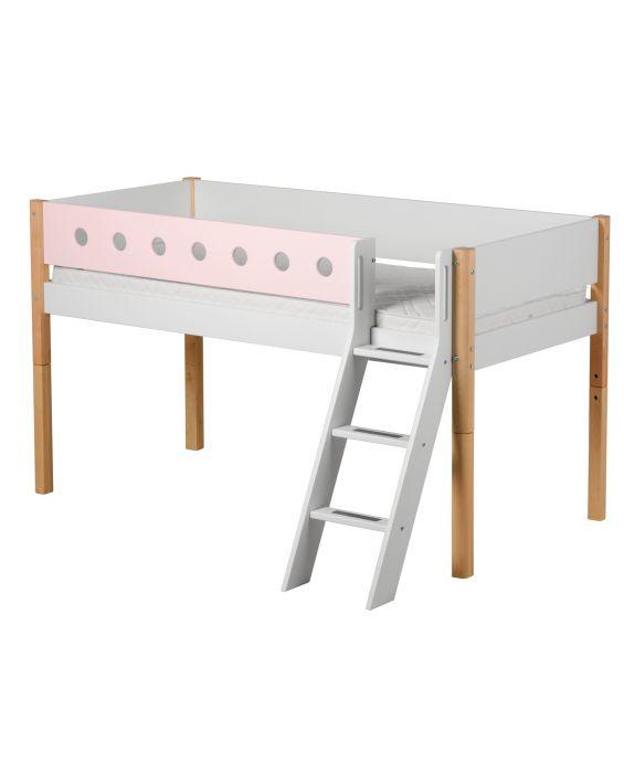White - Halbhohes Bett mit Schrägleiter - 200 cm