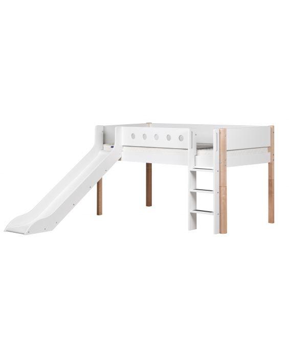 White - Halbhohes Bett mit Rutsche & Leiter - 190 cm