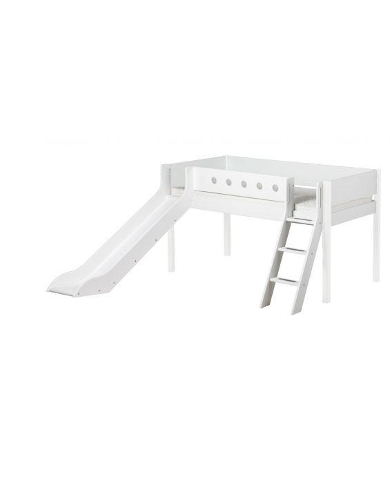 White - Halbhohes Bett mit Rutsche & Schrägleiter - 200 cm