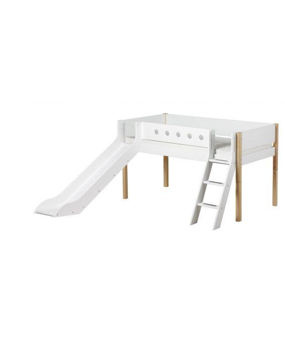 White - Halbhohes Bett mit Rutsche & Schrägleiter - 190 cm