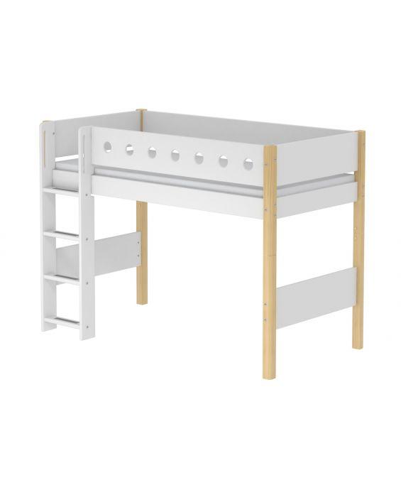 White - Mittelhohes Bett mit Leiter - 190 cm