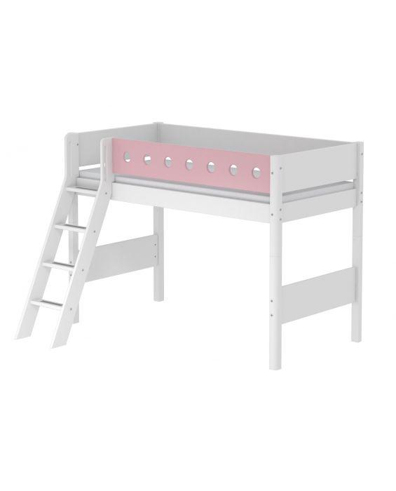 White - Mittelhohes Bett mit Schrägleiter - 190 cm