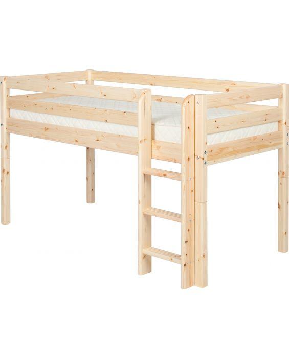 Classic - Halbhohes Bett mit Senkrechter Leiter - 190 cm - Natur