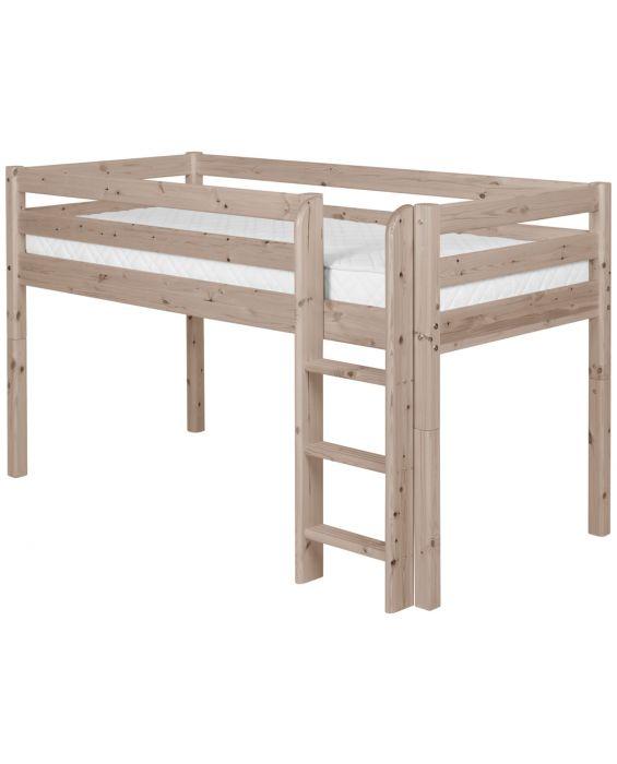 Classic - Halbhohes Bett mit Senkrechter Leiter - 190 cm - Terra