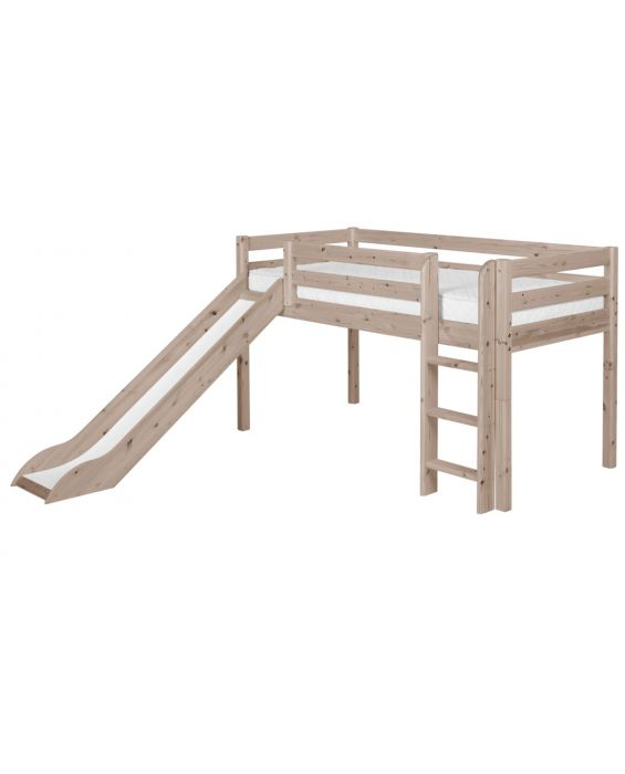 Classic - Halbhohes Bett mit Senkrechter Leiter & Rutsche - 200 cm