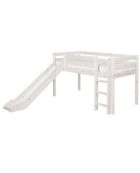 Classic - Halbhohes Bett mit Senkrechter Leiter & Rutsche - 190 cm