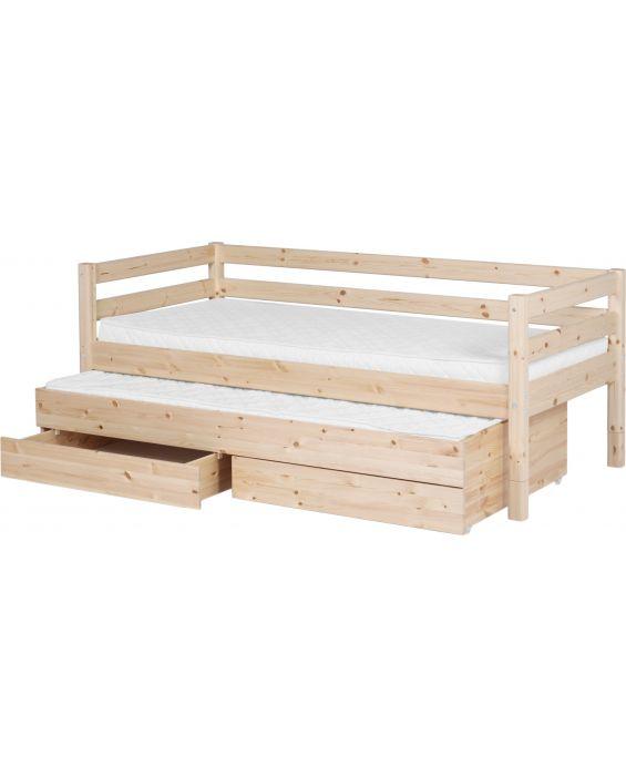 Classic - Einzelbett  - 200 cm mit Ausziehbett & 2 Schubladen - Natur