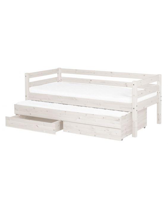 Classic - Einzelbett  - 200 cm mit Ausziehbett & 2 Schubladen - Weiß