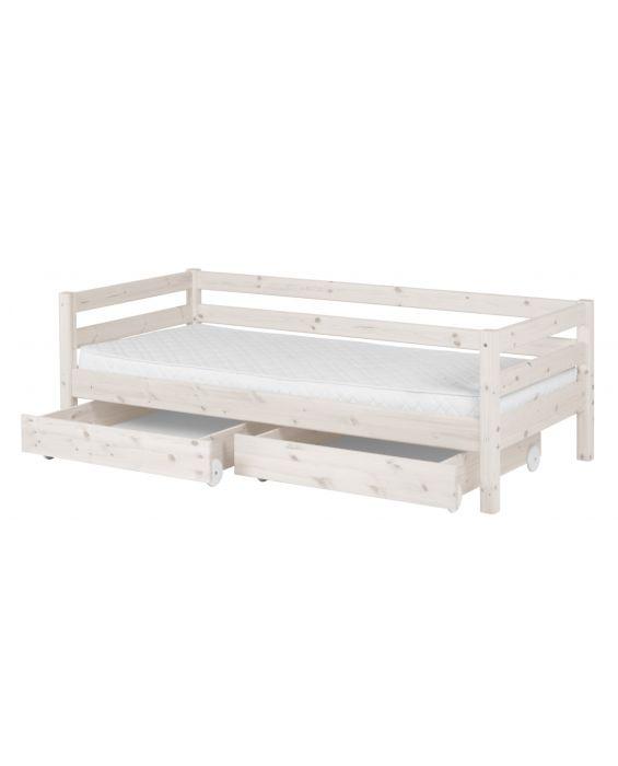 Classic - Einzelbett  - 200 cm mit 2 Schubladen - Weiß