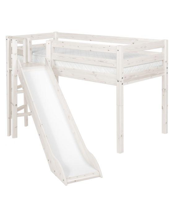 Classic - Halbhohes Bett mit Plattform & Rutsche - 190 cm