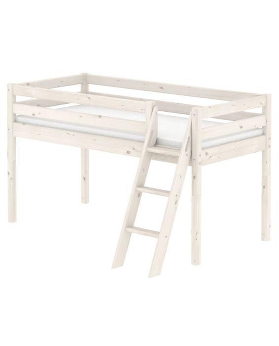 Classic - Halbhohes Bett mit Leiter - 200 cm - Weiß