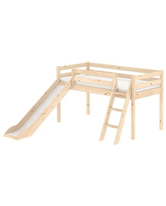 Classic - Halbhohes Bett mit schräger Leiter & Rutsche - 190 cm