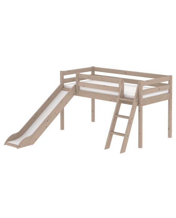 Classic - Halbhohes Bett mit schräger Leiter & Rutsche - 200 cm
