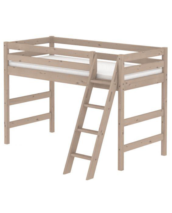 Classic - Mittelhohes Bett mit  schräger Leiter - 190 cm