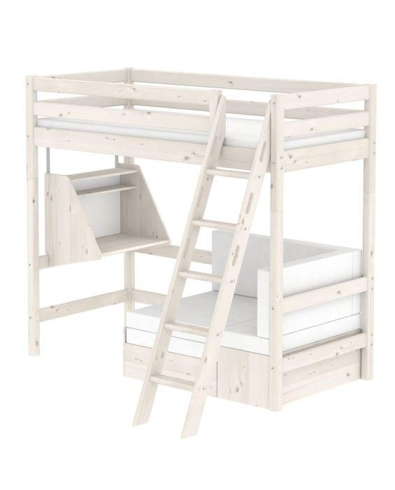 Classic - Hochbett mit Schrägleiter und Sofabett - 90 x 200 cm