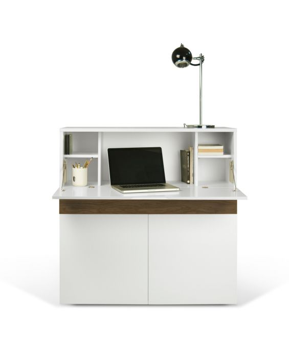 Sekretär - Workstation Focus - Weiß/ Walnuss