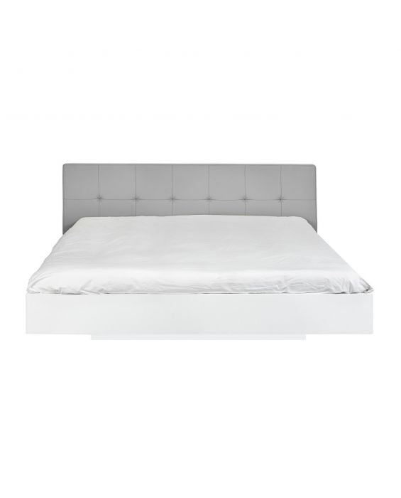 Float - Bett - 160x200 - Weiß/ Grau Kunstleder