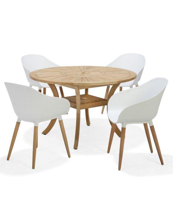 Set - Gartentisch Luna 120 cm - 5-teilig