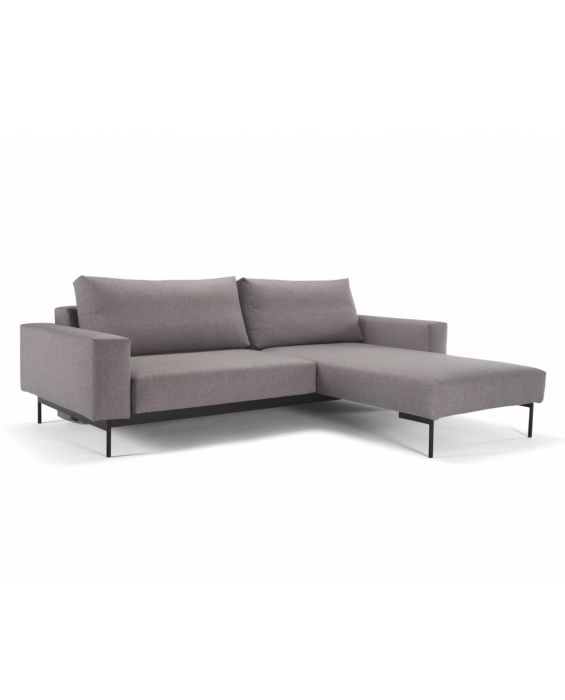 Bragi mit Armlehnen - Eckschlafsofa - Flashtex Light Grey (217)