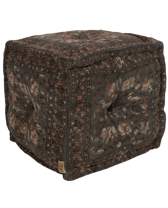 Indian Block - Pouf - Grau