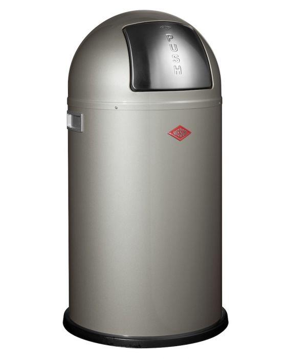 Pushboy - 50 Liter - Mülleimer - Neusilber