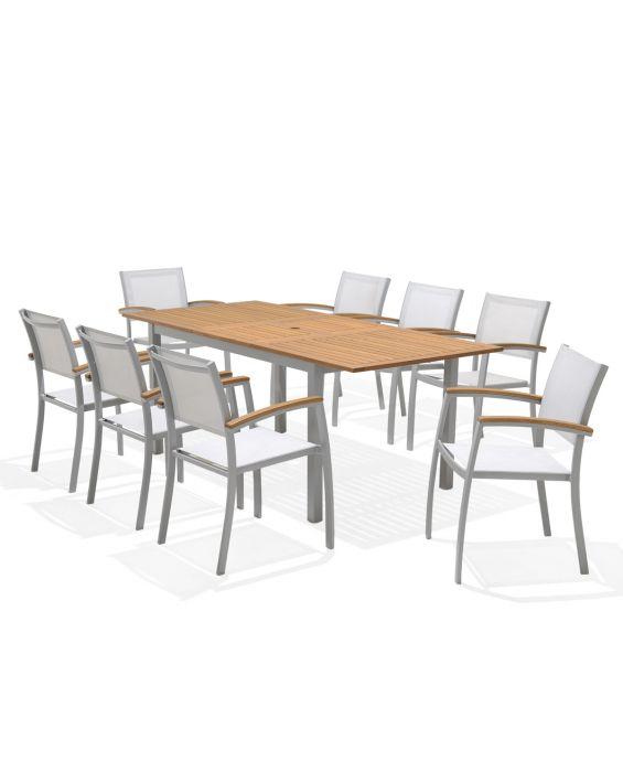 Set - Pina 2.0 Gartentisch - 9-teilig