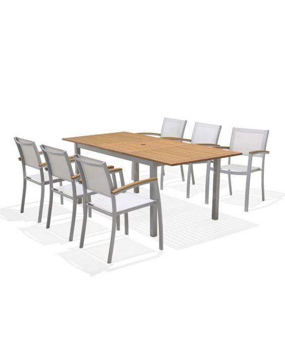 Set - Pina 2.0 Gartentisch - 7-teilig