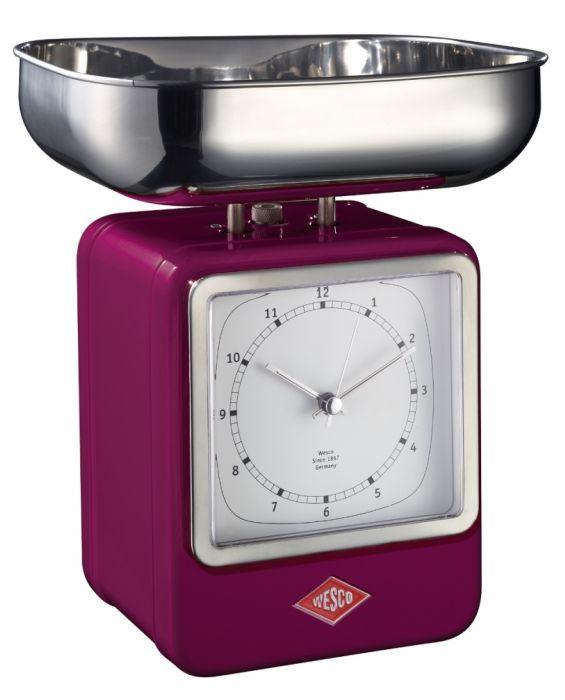 Retro - Küchenwaage mit Uhr - Brombeer
