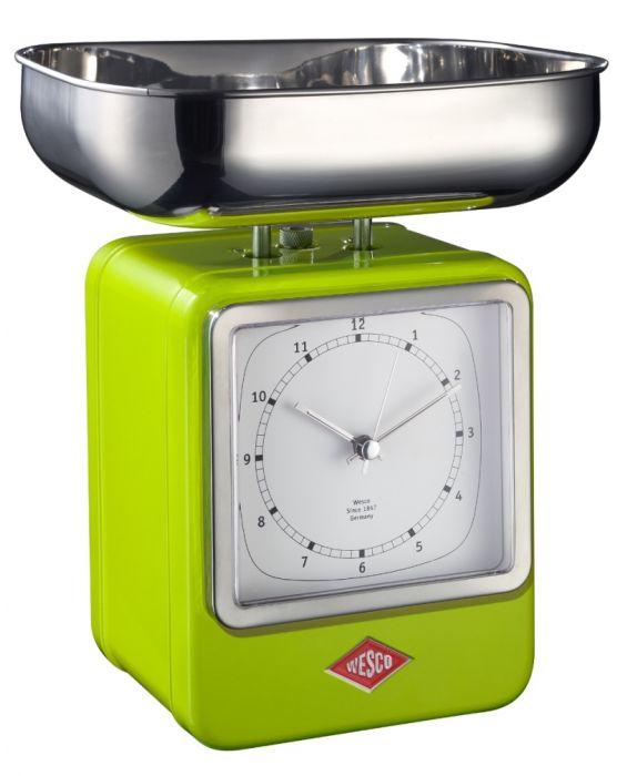 Retro - Küchenwaage mit Uhr - Limegreen