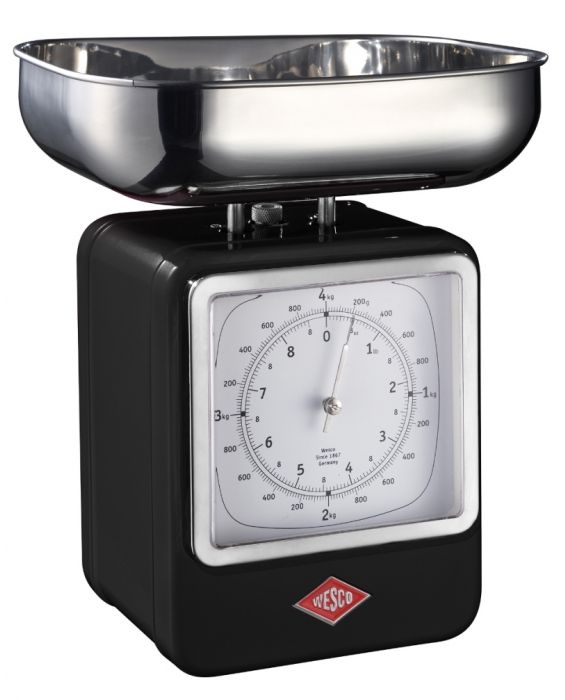 Retro - Küchenwaage mit Uhr - Schwarz