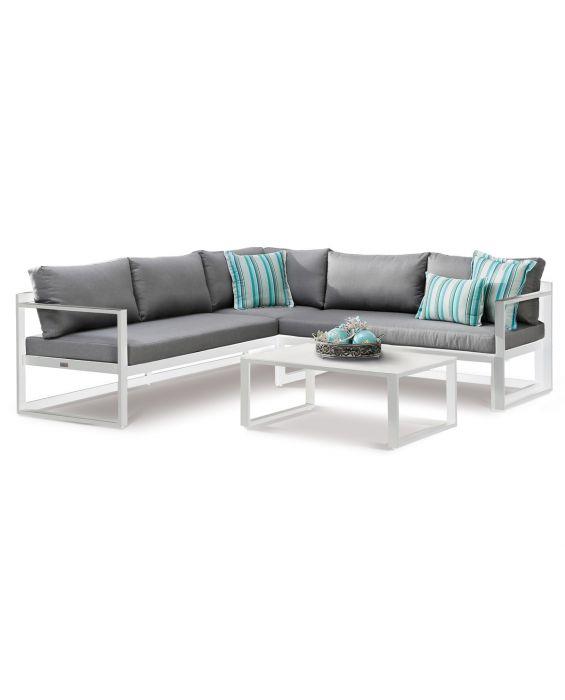 Set – Rhodos Lounge - Grau/ Weiß
