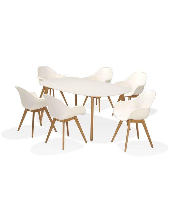 Set - Sol Gartentisch 7-teilig - Weiß